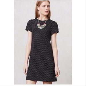 Anthropologie Maeve Polka Dot Shift Dress Black M